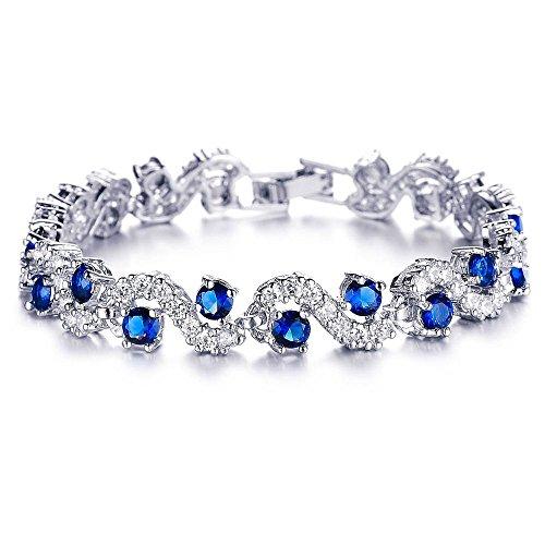 Kaizer Jewelry Rich Royal Blue Platinum Plated Swarovski Elements Chain Bracelet For Women