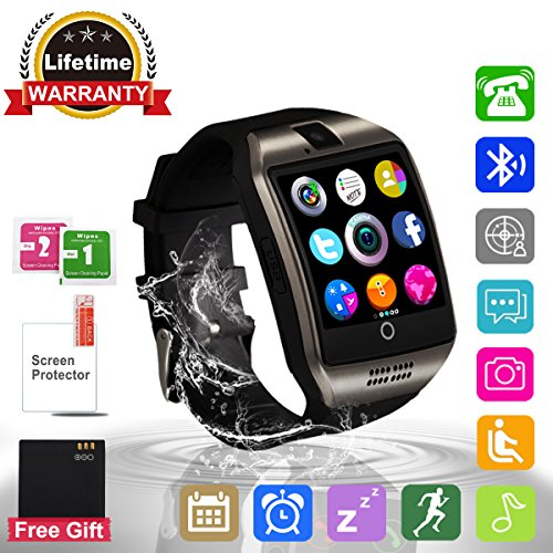 Bluetooth SmartWatch con Macchina Fotografica,Touchscreen SmartWatch, Orologio Intelligente,Watch Phone with Sim Card Per Android Samsung IOS Iphone 7 Plus 6 6S Uomini Donne Bambini Ragazze Ragazzi (Black)