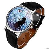 Vovotrade porcelana Gato patrón mariposa de cuero correa analógica reloj de pulsera de cuarzo (Negro)