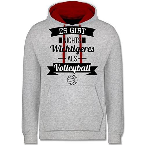 Volleyball - Es gibt nichts Wichtigeres als Volleyball - Kontrast Hoodie  Grau Meliert/Rot