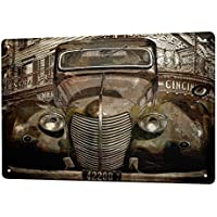 Cartel Letrero de Chapa XXL Nostalgic Retro Coche Dibujo Coche antiguo de la vendimia