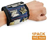 Magnetic Wristbands, Pyhot Handsfree Wrist Band Strap Holder Pickup Carry Kit for Holding up to 1kg Small Tools, Screws, Nails, Bolts Gadgets (Blue),35x9cm