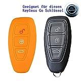 RotSale® 1x Orange Schlüsselhülle für Ford Mondeo 3 Tasten Schlüssel Key Free Keyless Autoschlüssel (NICHT Zündschlüssel) Silikon Schutzhülle Tasche Gehäuse Etui Fernbedingung Funkschlüssel Hülle