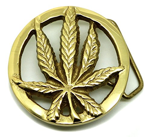 Canabis Leaf Belt Buckle - Marijuana Grass Solid Brass - Authentic Baron Buckles Brand Product