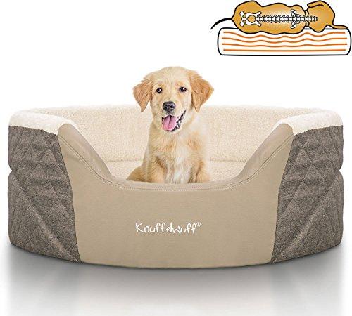 Knuffelwuff 13984-001 Orthopädisches Hundebett, Hundekissen, Hundesofa, HundekorbLena mit Hohem Schaumstoffrand, 70 x 50 cm, Braun/Beige