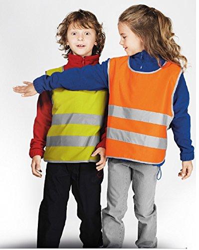 Preisvergleich Produktbild Warnschutzweste Kinderwarnschutzweste orange - Größe wählbar - mit hoher Sichtbarkeit und Sicherheit (Bis 134 cm)