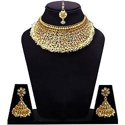 Sitashi 18 K Gold Plated Antique Rajwadi Fashion/Imitation Jewellery Stone Choker Necklace Set for Girls and Women for Wedding and Festivals (White)
