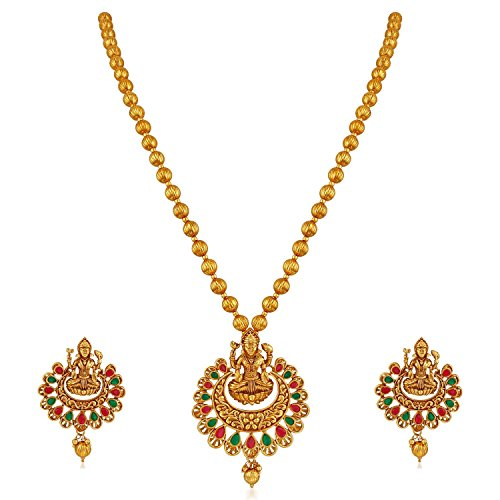 I Jewels Exquisite Gold-Plated Multi-Colour Laxmi Necklace Set for Women (MS145)