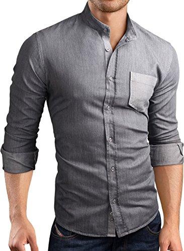 Grin&Bear custom Denim fit Hemd Shirt Herrenhemd Jeans, SH595 langarm/Grau Denim