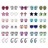 30 paia anallergici set orecchini per bambina ragazza perle Animale gatto stella Palla Cuore (30 paia)