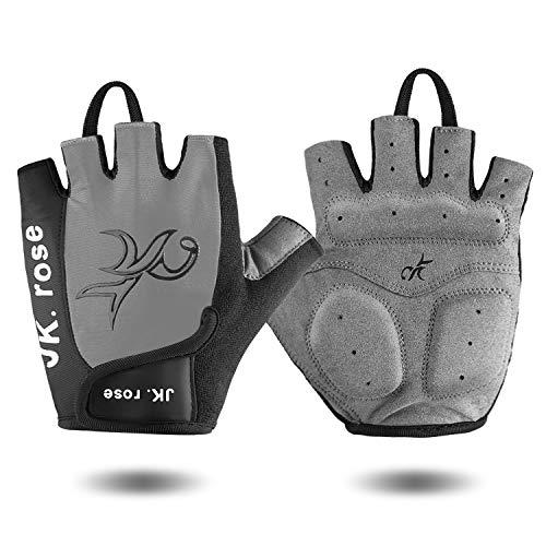 JK.rose Fitness Handschuhe Fahrradhandschuhe Trainingshandschuhe Halbfinger Kraftsport Damen Herren,Perfekt für Motorrad,Mountainbike,Kraftsport Radsport, Reiten, Wandern, Bergste. (Gray#4, XL) -