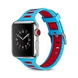Apple Watch Armband 42mm, Dexnor Apple iWatch Armband Series 1 / 2 / 3 Sportarmband Smart Watch Silikon Strap Replacement Wrist Band Uhrenarmband Ersatzband - Blau + Rot