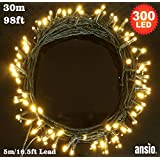 300 LED Lights - Warm white - Green Cable - Euro Plug