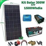 Kit Solar 12v 300W/1500W día Regulador de carga PWM 20A Inversor 1000w onda pura con mando de distancia Batería Monoblock TAB 245Ah