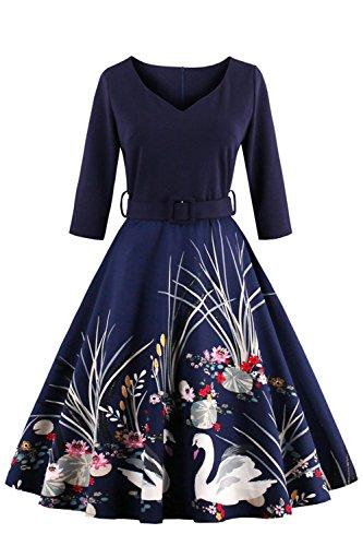 Babyonlinedress® Elegant Damen 1950er 1960er Jahre Vintage Kleider Langarm Swing Pinup Hausfrau Faltenrock Festkleider Tanzkleider Partykleider Knielang, ()