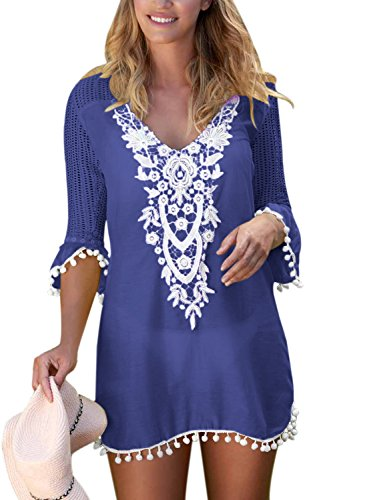 FIYOTE Strandponcho Strandkleider Bikini Cover Up Sexy Beach Bikini Dress Damen Dunkelblau L (Up Sexy Beach Frauen Cover)