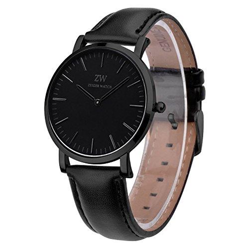 Montre Homme Cuir Neuf KZKR Montre Homme Montre bracelet cuir Quartz élégant montre homme montre homme luxe montre homme noir montre homme cuir marron - Noir K443