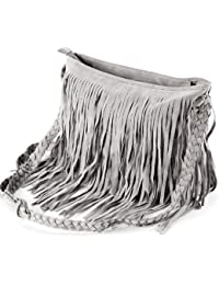 Anladia Sac a Epaule Bandouliere Tressee a Franges en Suede Style Hobo pr Femme Fille Gris
