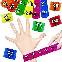 German-Trendseller  - 12 x Bracelets à claquer Smiley┃Visages drôles┃Couleurs Vives┃ Petit Cadeau┃l'anniversaire d'enfant┃12 pcs