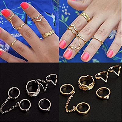 JaneDream 1 Set 6 pcs Girls Modern Casual Finger Tip Midi Rings