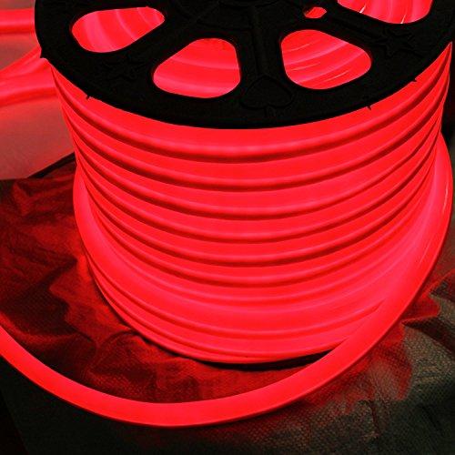Vasten 12 Volt LED Flex Neon-Lichtstreifen, 65 Fuß, Blau, Weiß, Rot, wasserfest, Zubehör, [Ideal für Heimwerker Indoor Outdoor Seilbeleuchtung] [gebrauchsfertig] rot -