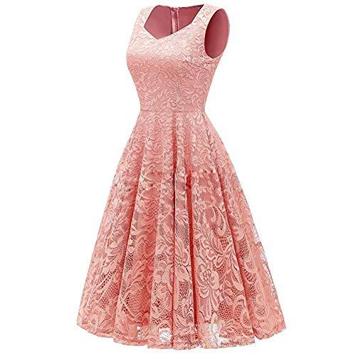 XHTW&B Damen Spitze ÄRmellos Kleider Rock Eckiger Hals Flexibel Brautjungfer BüHne KostüMe Elegant Party Tanzen Wettbewerb Kleid,pink,L