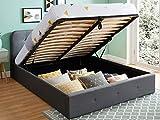 HOMIFAB Lit Coffre 160x200 cm Anthracite avec tête de lit + sommier à Lattes - Collection Kate