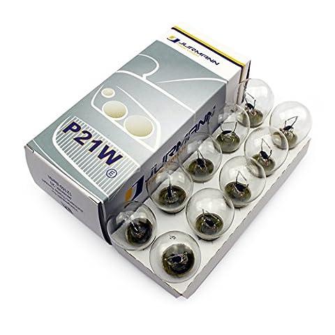 10x Stück Jurmann® P21W 12V 21W BA15S Halogen Lampen Autolampen KFZ-Beleuchtung Birne NEU