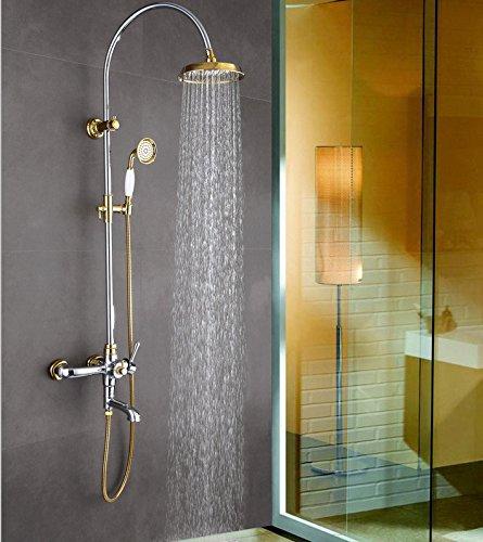 Colonne de Douchetempérature constante douche robinet european haut de gamme cuivre pur grande douche ensemble avec levée réglable trois fonctions douche douche,c