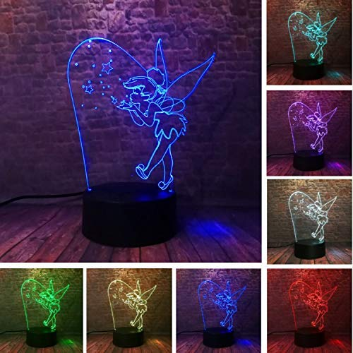 QHQ Cartoon 3D Seltene Peter Pan Fee Tinker Bell Schneeflocke Tinkerbell Princess 7 Farbwechsel Action Figure Led Nachtlichter Kind