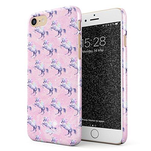 (Glitbit Hülle Kompatibel mit iPhone 7/8 Cute Pink Unicorn Pattern Glitter Rainbows Queen Princess Sparkle Aesthetic Pastel Einhorn Dünn Robuste Rückschale aus Kunststoff Handyhülle Case Cover)