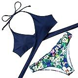 Lever Damen Bikini mit Gepolsterte Cups Bügellos Bikinis Triangel Bikini Neckholder Dunkelblau Blumen L