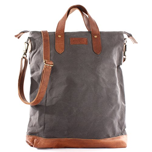 1ebe0157c4 (grey / brown) - LECONI shopper leather canvas vintage look handle bag  women tote