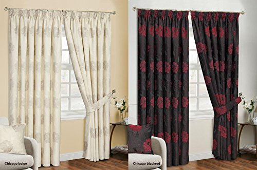 Chicago Jacquard Chenille Curtains Stunning Luxurious Floral Flowers 3