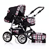 "14 teiliges Qualitäts-Kinderwagenset 2 in 1 ""FLASH"" in 38 Farben: Kinderwagen + Buggy - Megaset – all inklusive Paket in Farbe SCHWARZ-ROT-KARIERT"