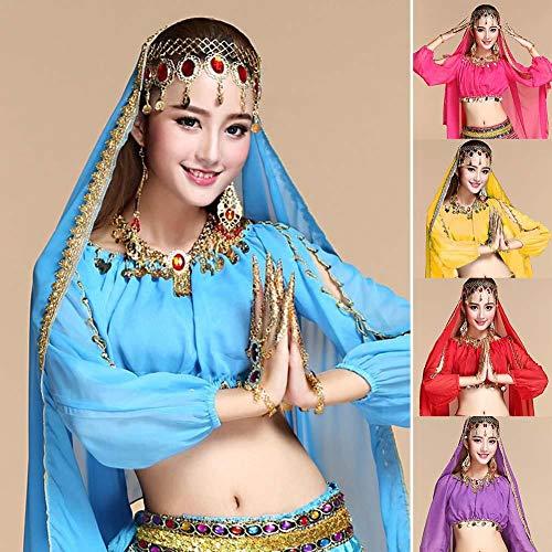 Über Kostüm Bauchtanz Den - Boquite Indian Bauchtanz Kostüm Goldrand Chiffon Schal Pailletten Schleier Schal(Blauer See)