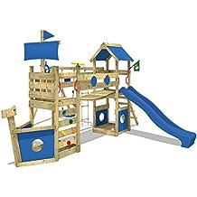 WICKEY Torre para StormFlyer La torre de escalada de madera del teatro de los niños con el oscilación, diapositiva y puente del wiggle, diapositiva azul + lona azul