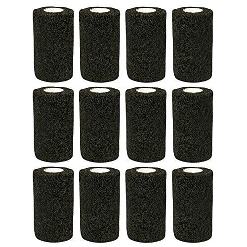 Flexible Selbstklebende Bandagen (Haftbandage–12Rollen x 10cm x 4,5m, Erste Hilfe, Sport, Bandagen, COBOX Tierarztverband selbstklebende Bandagen, schwarz)