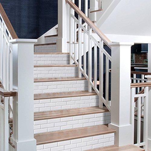 eber 13 Stück 3D Dreidimensionalen Weißen Backstein Wohnzimmer Treppe Aufkleber Sofa Hintergrund Wand DIY Abnehmbar 18 * 100cm ()