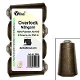 4 Stück Spulen Overlock - Nähgarn, dunkel - braun, a. 2743 m, NE 40/2, 100% Polyester, Nähfaden, Nähmaschinen Garn, 2956