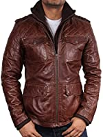 UK Vintage Mens Brown Quilted Leather Bomber Jacket Casual Fitted Style S-5XL