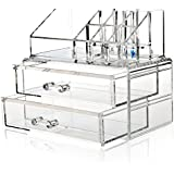 H&S® Acrylic Clear Make up Makeup Organiser Cosmetic Box - 2 Drawers