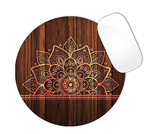 1 X Dark Brown Wood Pattern With Flower Mandala Color Burn Mouse Pad (ROUND)