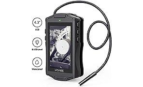 """HOMIEE Caméra d'inspection numérique avec écran LCD 4,3"""", Tube endoscopique étanche IP67, 8 Niveaux de luminosité LED, diamètre de caméra 8 mm (Endoscope à écran LCD 4,3"""")"""