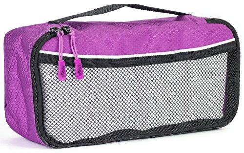 Packwürfel Kleidertaschen Packing cubes Koffertaschen für angenehmes Reisen und aufgeräumte Koffer -Große und mittelgroße Taschen zum Schutz und zur Komprimierung von vielen Kleidungsstücken, Schuhen  Slim-Purple