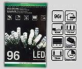 LED Lichterkette für innen & außen, 96 weiße LEDs, 8 Modi, batteriebetrieben