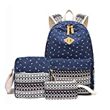 FRISTONE Zaino Casual Scuola Set 3 pcs Daypack Zaino Tela Università Donna Zaini Femminili Scuola Superiore Zainetti Zainetto+ Messenger Bag + Borsetta (Blu scuro)