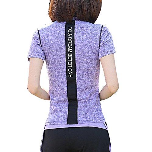 Highdas Gym Courir T-shirt Sport T-shirt pour femmes Compression Collants Dry courtes manches rapide Vêtements femme Violet