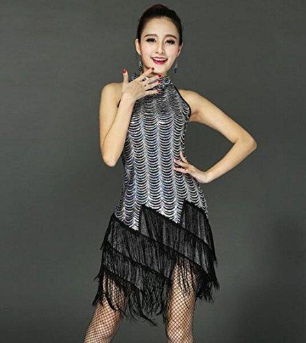 FGDJTYYJ Latin Dance Kleidung weiblicher Erwachsener Kostüm Wettbewerb Quaste Kleid Rock, l