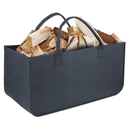 Cestino in feltro, diealles camino legno borsa in feltro per legna da caminetto oppure per giornali, 50 x 25 x 25 cm (nero)